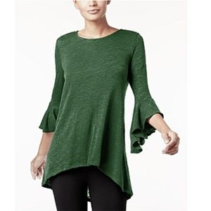 NWT Alfani Ruffled Sleeve HiLo Sweater Green Small